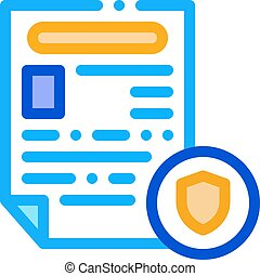 rapport, icône, illustration, police, contour, worksheet