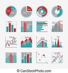 rapport, infographic, éléments, business