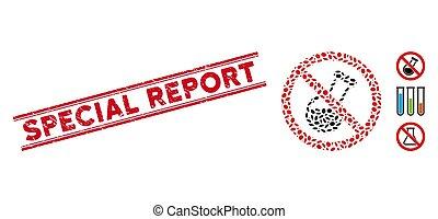 rapport, spécial, ligne, gratté, chimique, mosaïque, non, analyse, cachet, icône