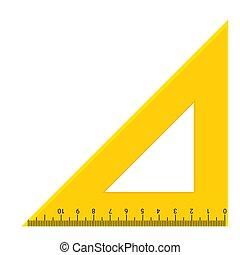 rapporteur, échelle, icon., géométrie, triangle, ruller, mesure, vecteur, outillage, illustration