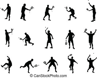 raquette, silhouettes, balle
