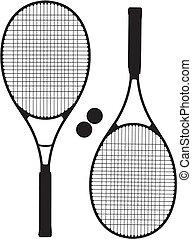 raquette, silhouettes, tennis