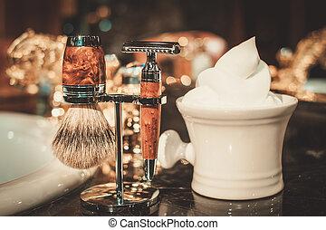 rasage, salle bains, luxe, interior., accessoires