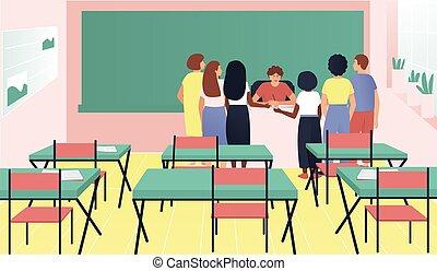 rassemblé, bureau, autour de, étudiants, professeur