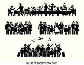 rassemblement, activities., famille, grand, parents, réunion