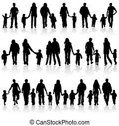 rassembler, silhouettes, famille