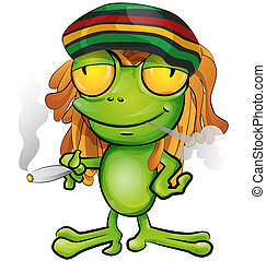 rastafarian, dessin animé, grenouille, isolé