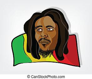rastafarian, rasta, illustration, drapeau, jamaïquain, man., homme