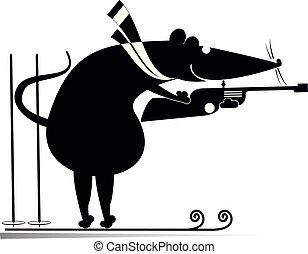rat, ou, illustration, souris, blanc, noir, biathlon, concurrent