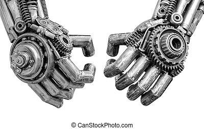 ratchets, fait, boulons, fou, robot, cyber, métallique, mécanique, main, ou