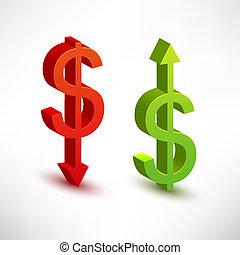 rates., concept, dollar, échange
