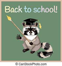 raton laveur, mignon, école, dos, dessin animé