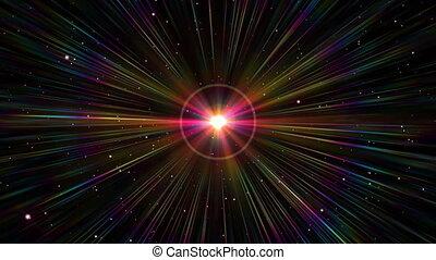 rayon, lumière, étoile, explosion espace