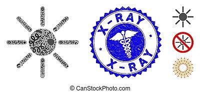 rayon x, healthcare, gratté, soleil, mosaïque, viral, cachet, icône