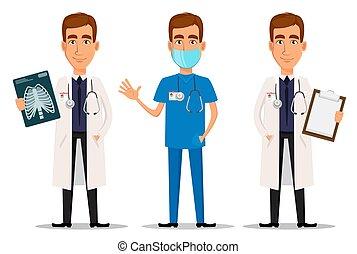 rayon x, professionnel, onduler, main, docteur, coup, ensemble, presse-papiers, jeune