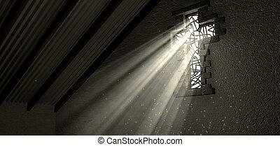 rayons, éclairé, lumière, fenêtre verre souillée, crucifix