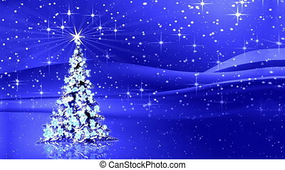 rayons, étoile, lumière, arbre, étincelant, décoré, noël