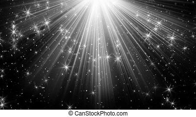 rayons, fond, lumière, loopable, noir, étoiles
