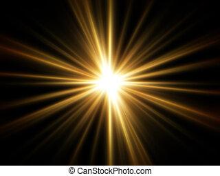 rayons légers, doré