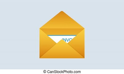 reçu, blank., style, email, ouvert, document, icône, plat, papier, note, message, facture, enveloppe