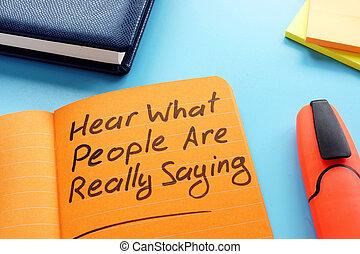 really, concept., quel, gens, signe., entendre, écoute, technique, actif, proverbe
