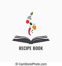 recettes, livre cuisine, vegetables., livre, recette