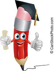 recevoir diplôme, crayon, mascotte
