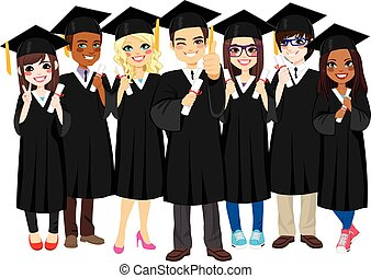 recevoir diplôme, réussi, étudiants