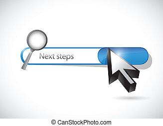 recherche, barre, illustration, suivant, étapes, conception