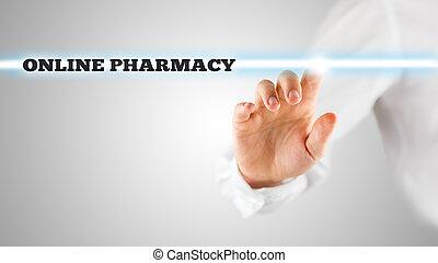 recherche, barre, pharmacie, ligne, activer, homme