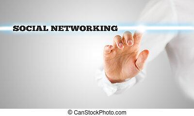 recherche, barre, virtuel, éboulis, social, gestion réseau, activer, homme