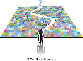 recherche, business, puzzle, solution, sentier, homme