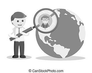 recherche, couleur, globe, style, noir, homme affaires, employé, nouveau, blanc