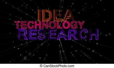 recherche, idée, concept, technologie, mots