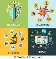 recherche, plat, concepts, idée génie, science