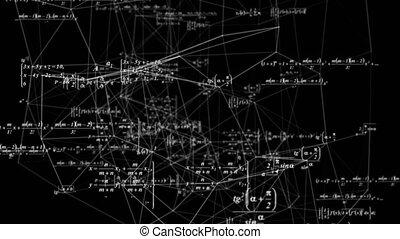 recherche, vidéo, espace, mathématique, concepts., boucle, formules, science, développement, mouvement