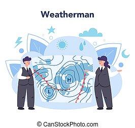 rechercher, météorologiste, étudier, forecaster, temps, concept.