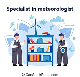 rechercher, temps, étudier, concept., forecaster, météorologiste