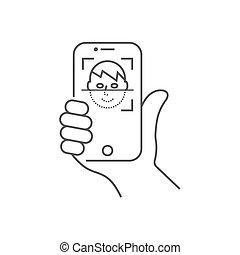 recognition., smartphone, biometric, illustration., figure, mobile, concept., moderne, identification, système, id., personne, vecteur, face., main, scanning., app, reconnaissance, balayages