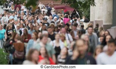 reconnaissable, foule, gens, rue., faces, non