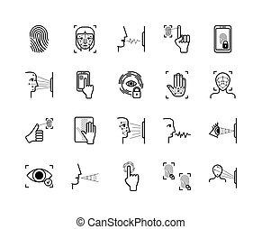 reconnaissance, balayage, paume, figure, voix, système, empreinte doigt, icônes, vibration, identification, rétine, apparence, moderne, set., smartphone, protection., vecteur, biometric, sécurité, ouvrir, biométrie