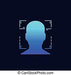 reconnaissance, biometric, balayage, vecteur, figure, facial