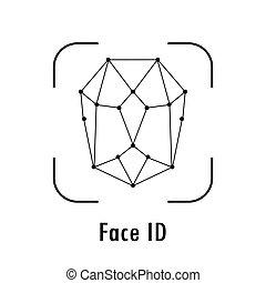 reconnaissance, figure, id, icône, fond, blanc