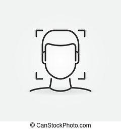 reconnaissance, linéaire, figure, vecteur, humain, concept, icône