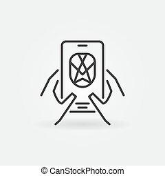 reconnaissance, vecteur, contour, icône, concept, smartphone, figure