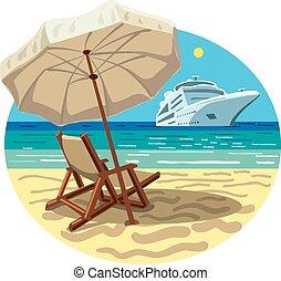 recours, bateau, plage, croisière