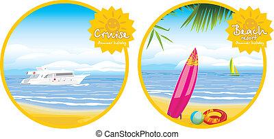 recours, plage, croisière