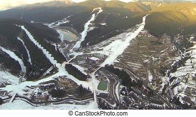 recours, prise vue aérienne, bukovel, ski