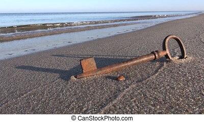 recours, sable plage, clã©, mer