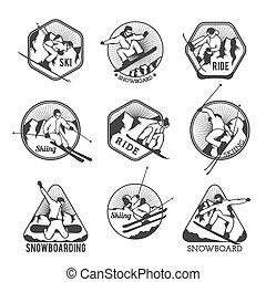 recours, vecteur, éléments, logo, insignes, étiquettes, emblèmes, ski